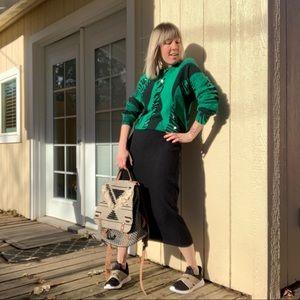 80s/90s Wool Angora Abstract Print Sweater & Skirt
